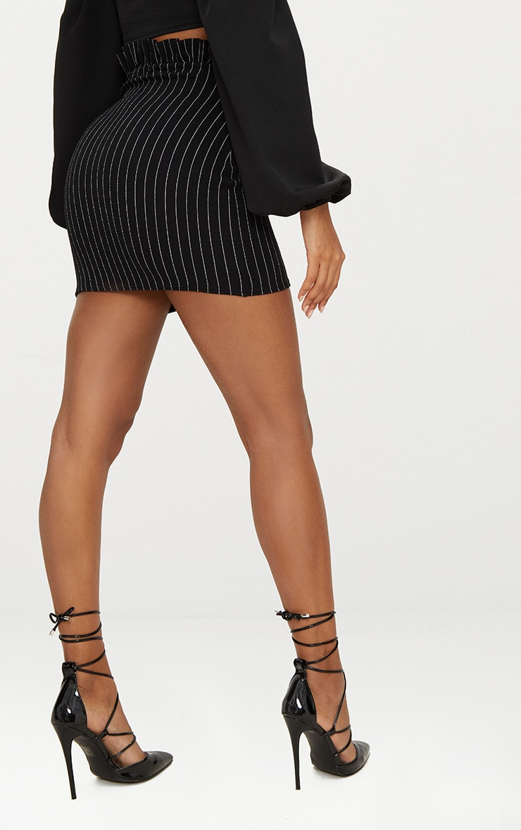 Black Pinstripe Paperbag Mini Skirt  4