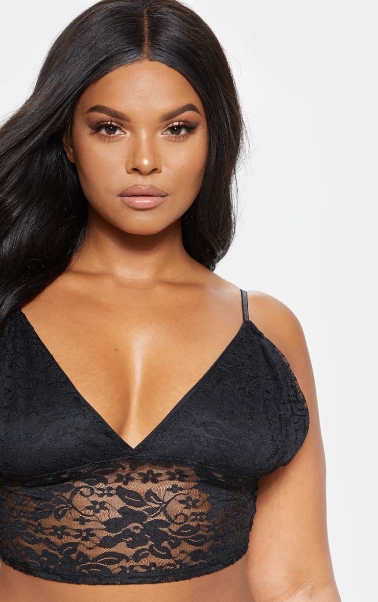 Plus Black Lace Strappy Bralet  5