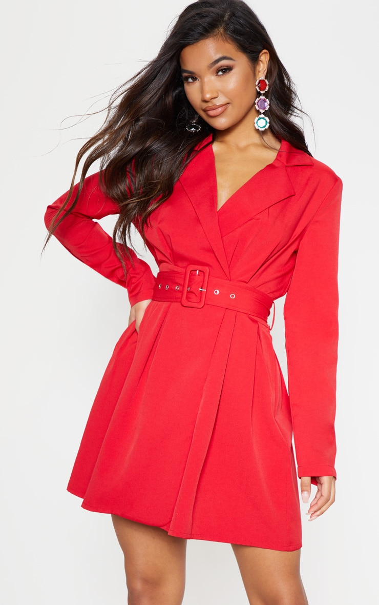 Red Belt Detail Blazer Dress