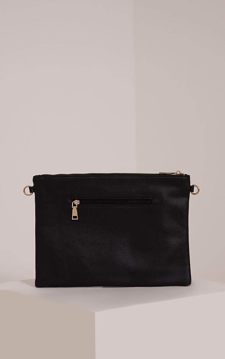 Ilana Black Floral Embroidery Clutch Bag 2