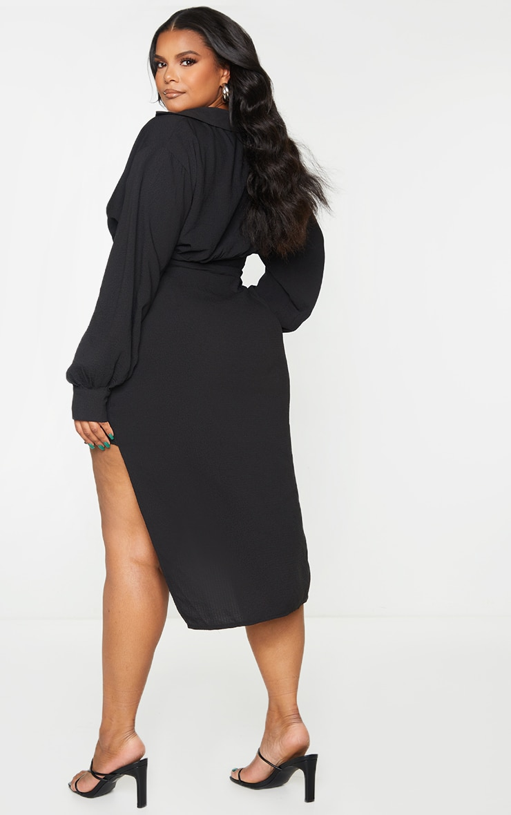Plus Black Plunge Wrap Textured Dress 2