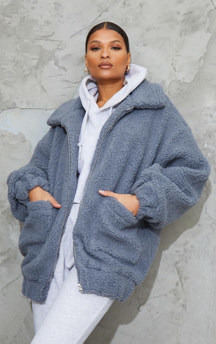 Grey Oversized Borg Pocket Front Coat 1