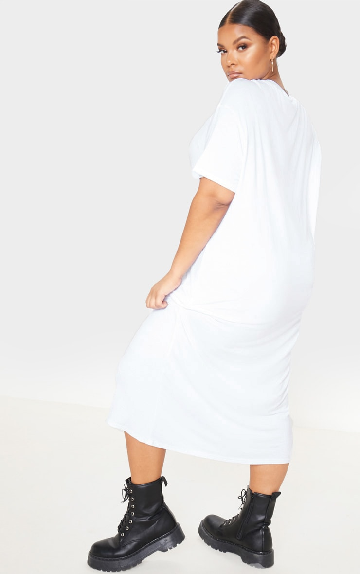Plus White Oversized Boxy Midi T Shirt Dress 2