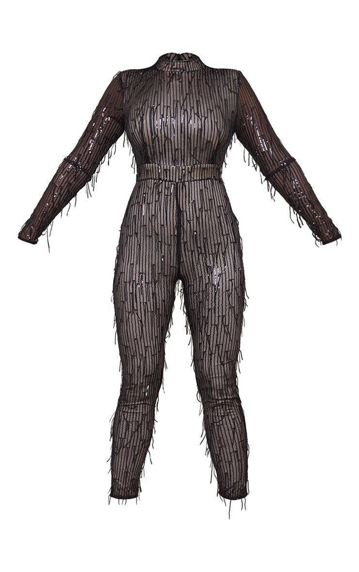 Tall Black Premium Tassel Sequin High Neck Shoulder Pad Jumpsuit 5