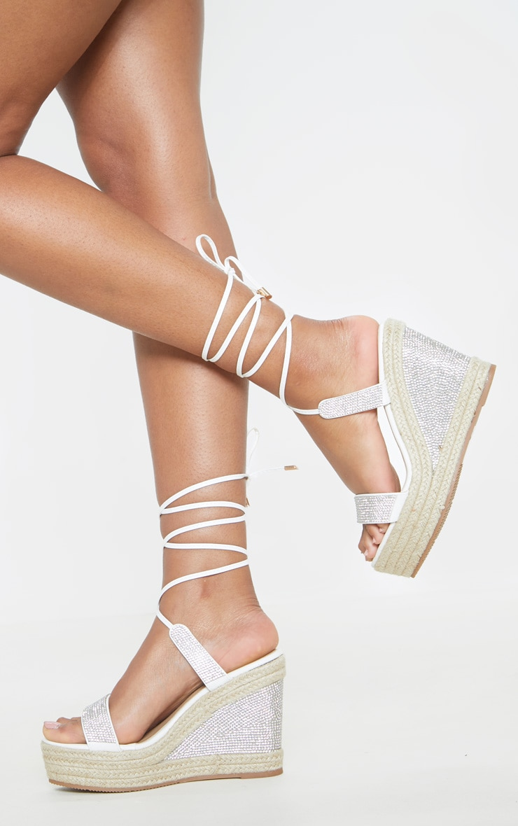 White Diamante Ankle Tie High Wedge 1