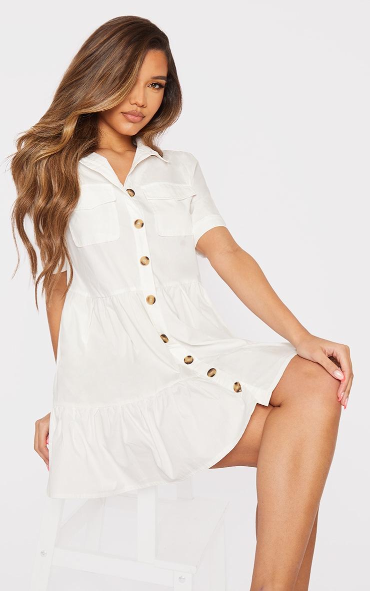 White Cotton Tiered Drop Hem Button Down Smock Dress 1