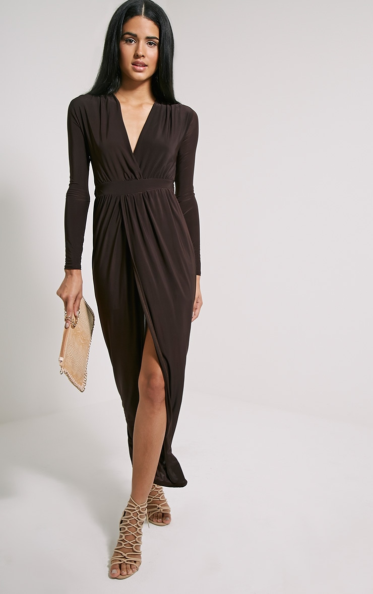 Bex Chocolate Brown Cut Out Maxi Dress 4