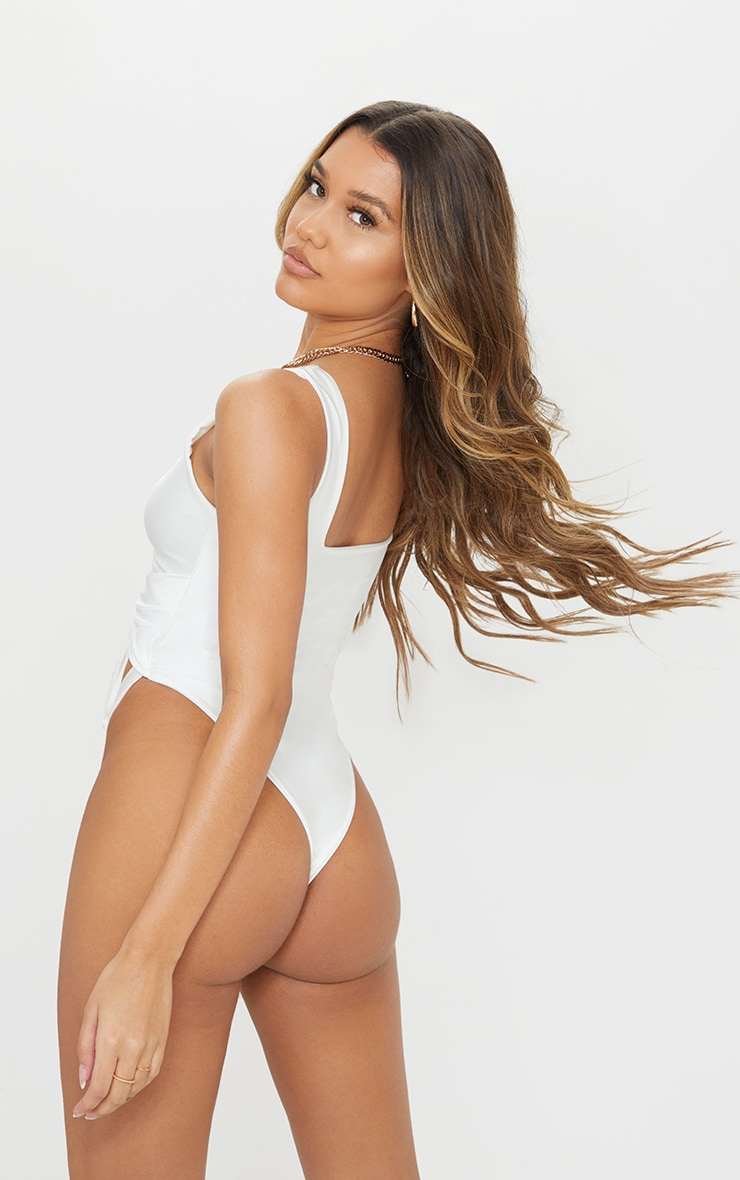 White Cut Out Adjustable String Swimsuit 2