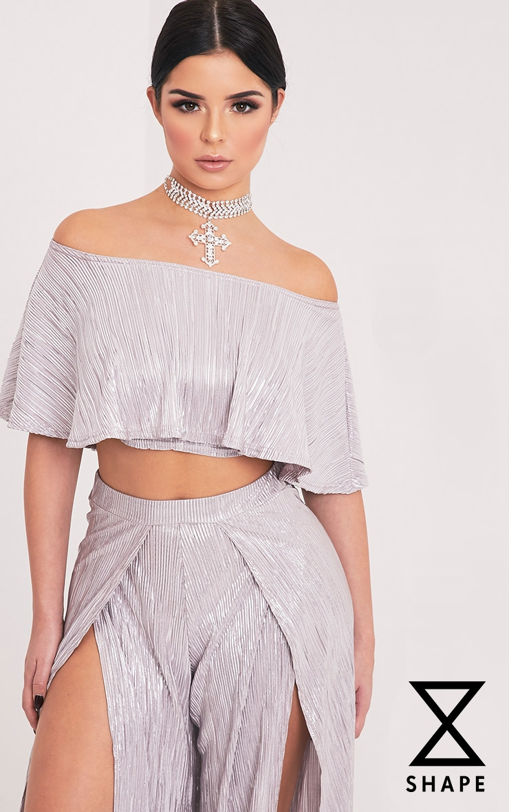 Shape Madaline Silver Metallic Bandeau Crop Top  1