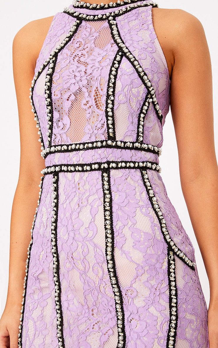 Francessia Lilac Premium Embellished Midi Dress 4