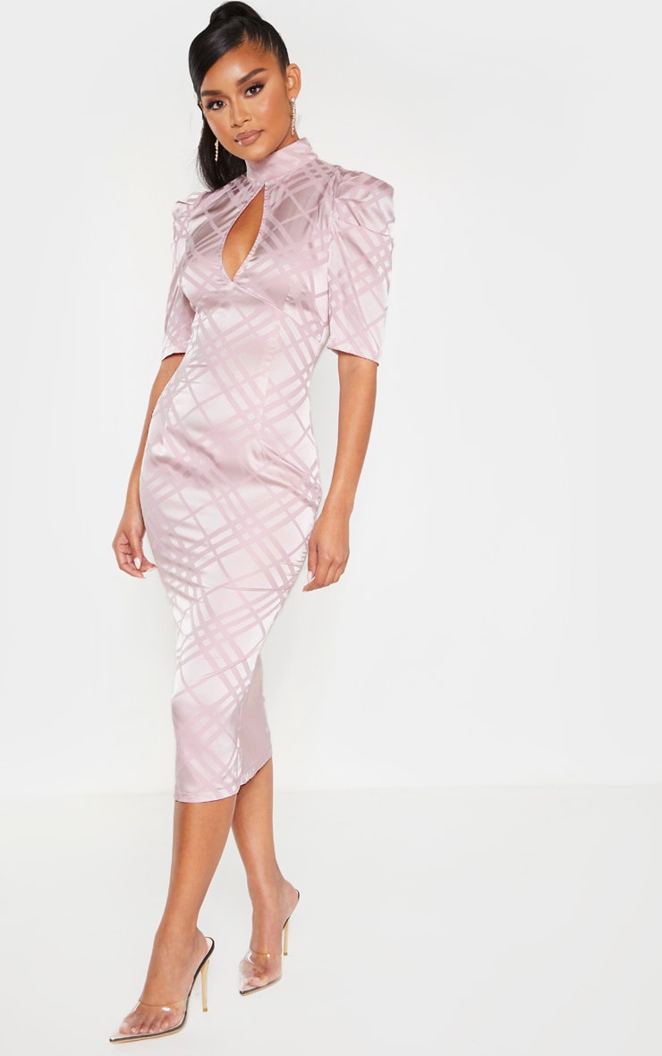 Lilac High Neck Puff Sleeve Keyhole Midi Dress 1