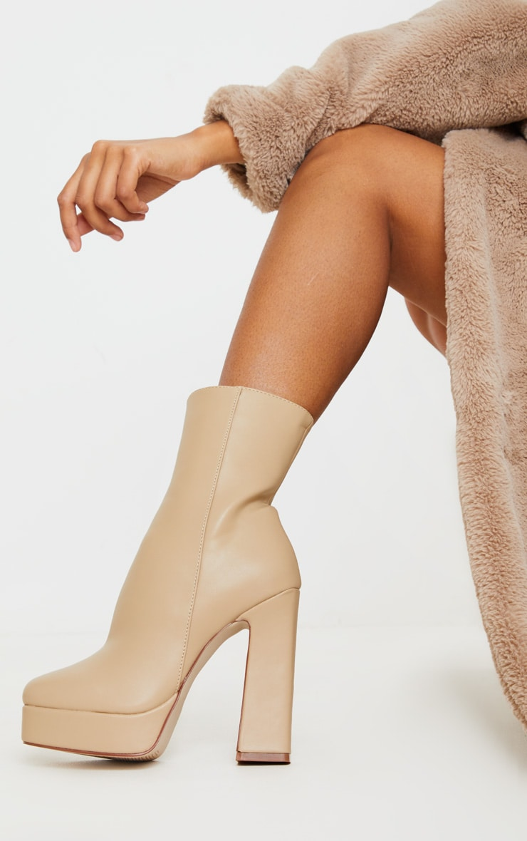 Nude Platform Ankle Boots 1