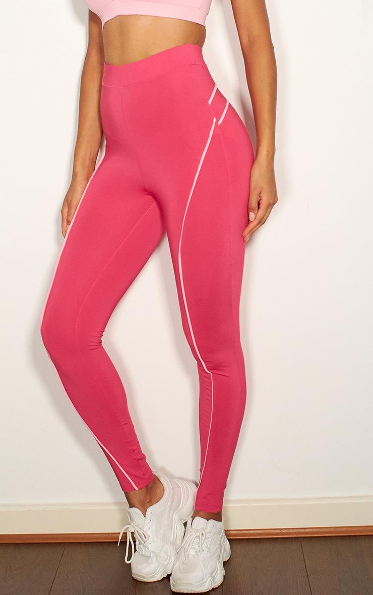 Pink Contrast Binding High Waist Gym Legging 2