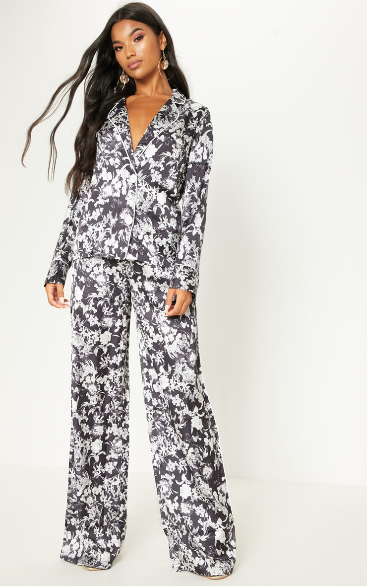 Black Floral Printed Button Front Shirt 4