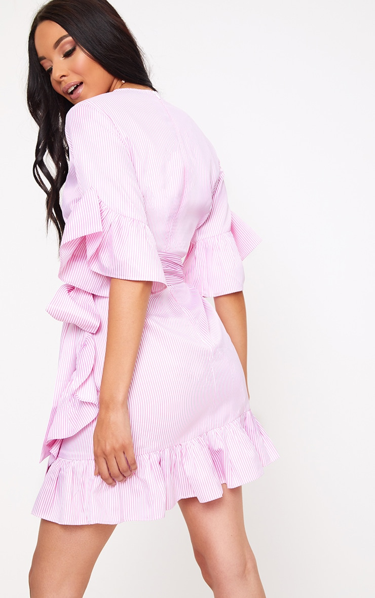 Pink Stripe Frill Detail Mini Dress 2