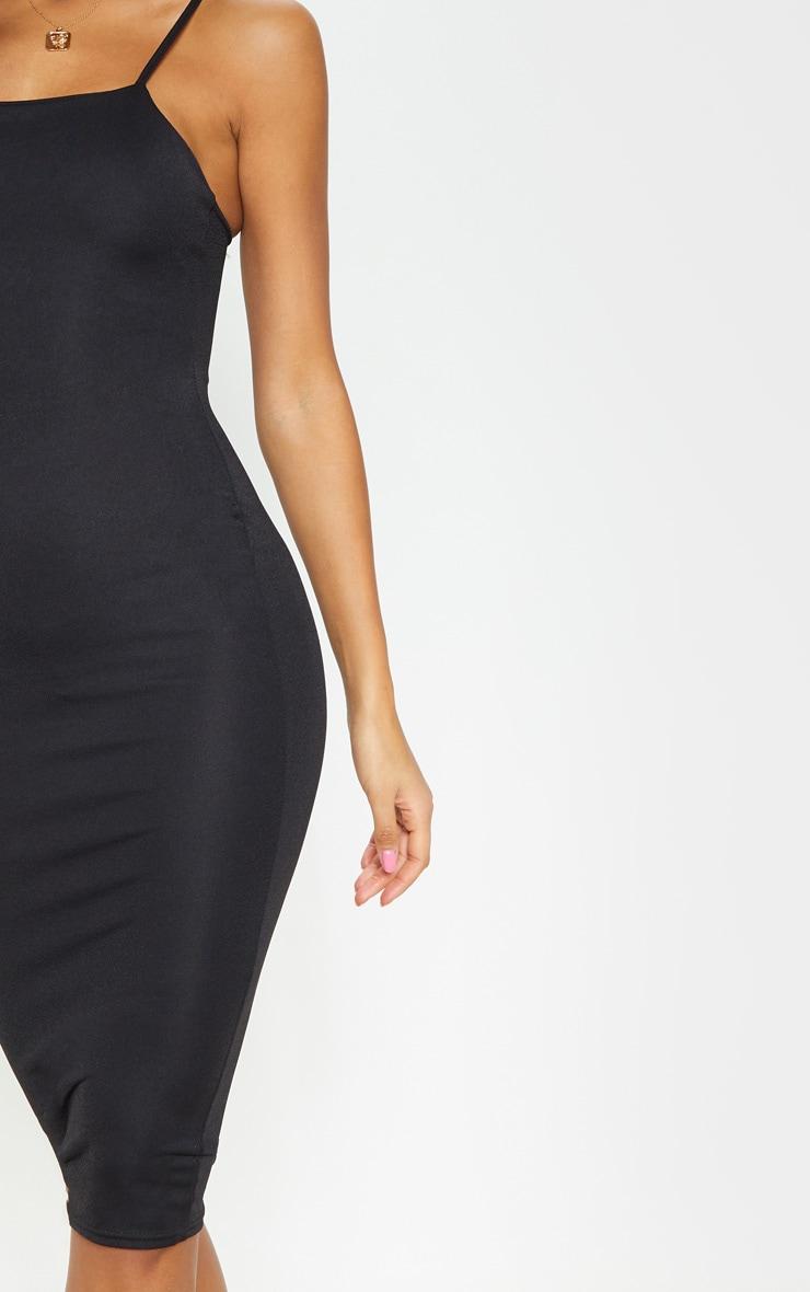 Essential Black Cotton Blend Strappy Midi Dress 5