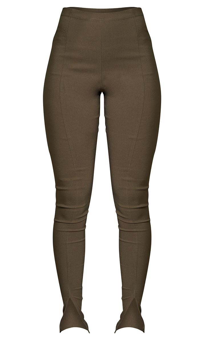 Khaki Stretch Split Hem Skinny Trousers 5