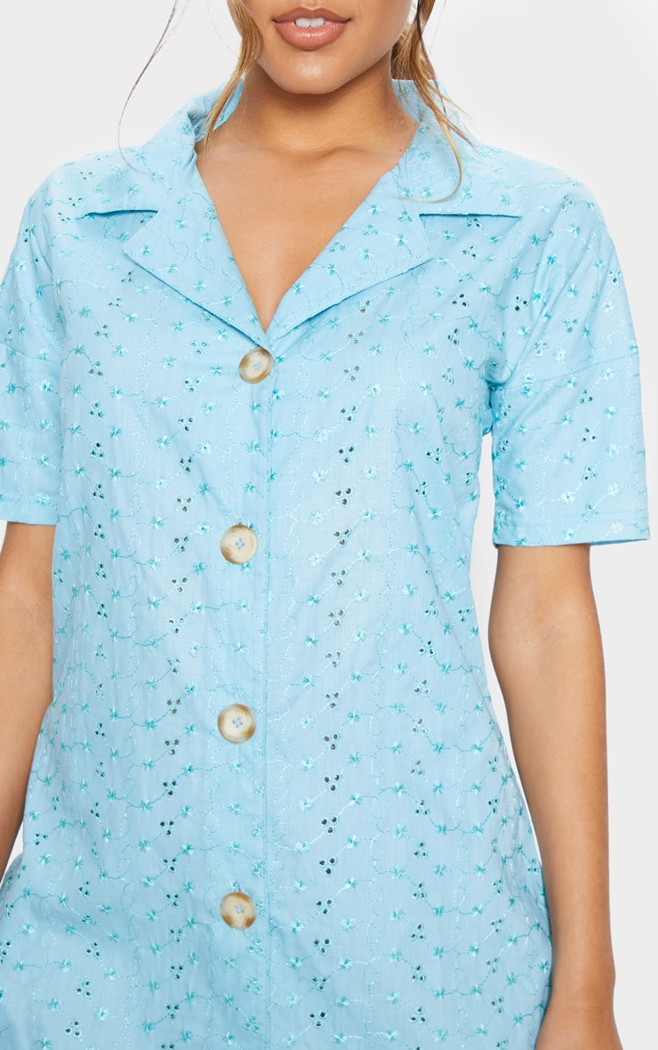 Baby Blue Broderie Analgise Tortoise Shell Button Shirt Dress 5