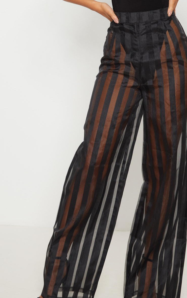 Black Sheer Stripe Wide Leg Trouser 5