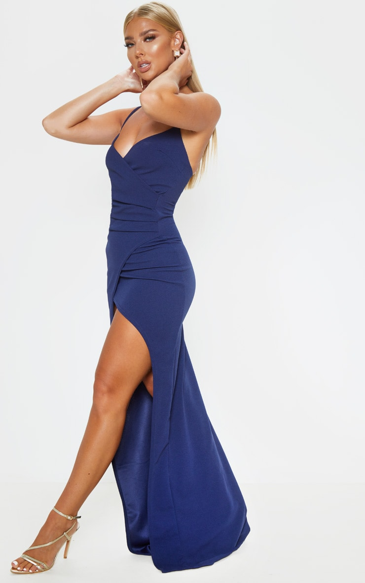 Midnight Blue Wrap Front Crepe Maxi Dress 4