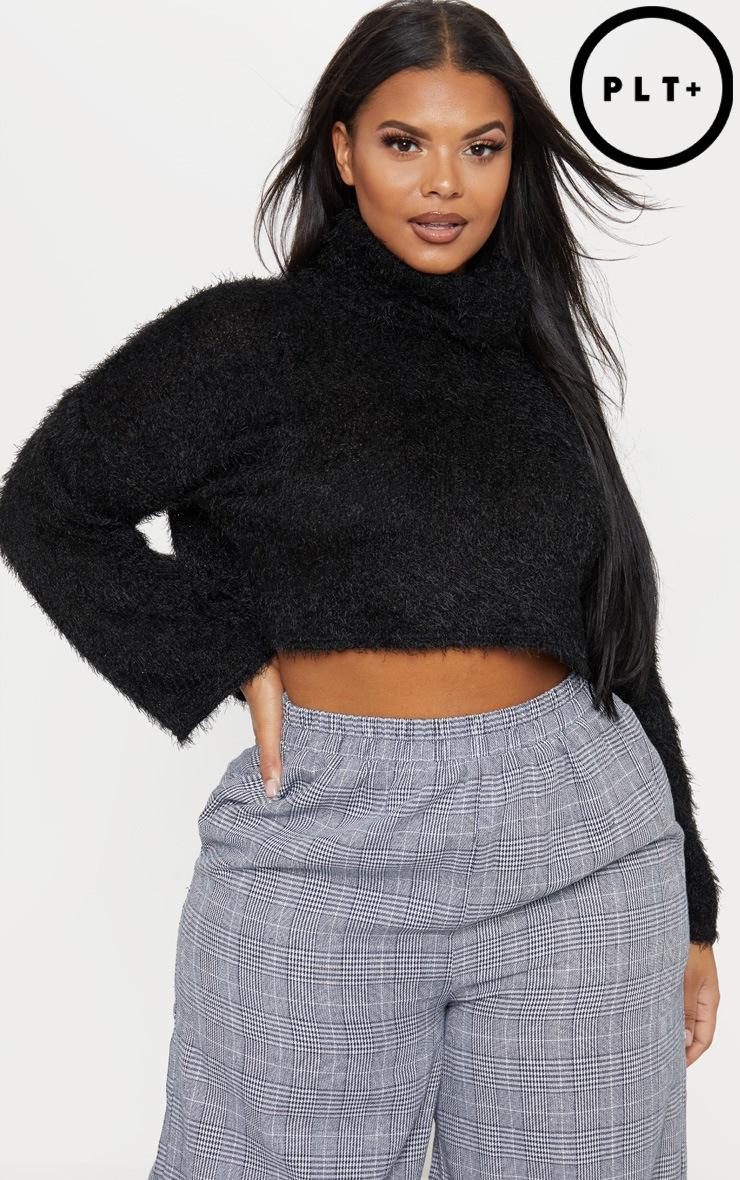 Plus Black Fluffy Knit Roll Neck Crop Sweater  1