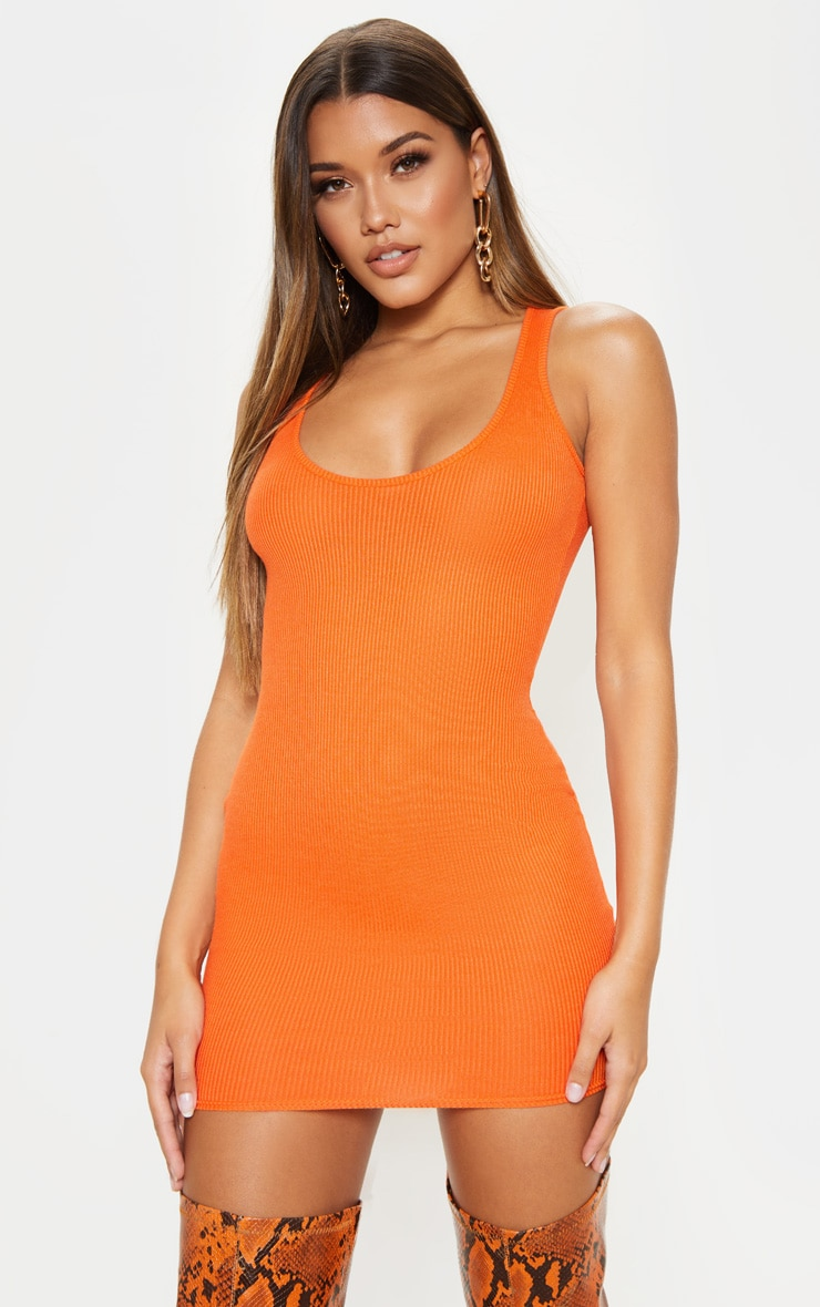 Bright Orange Ribbed Scoop Neck Bodycon Dress 4