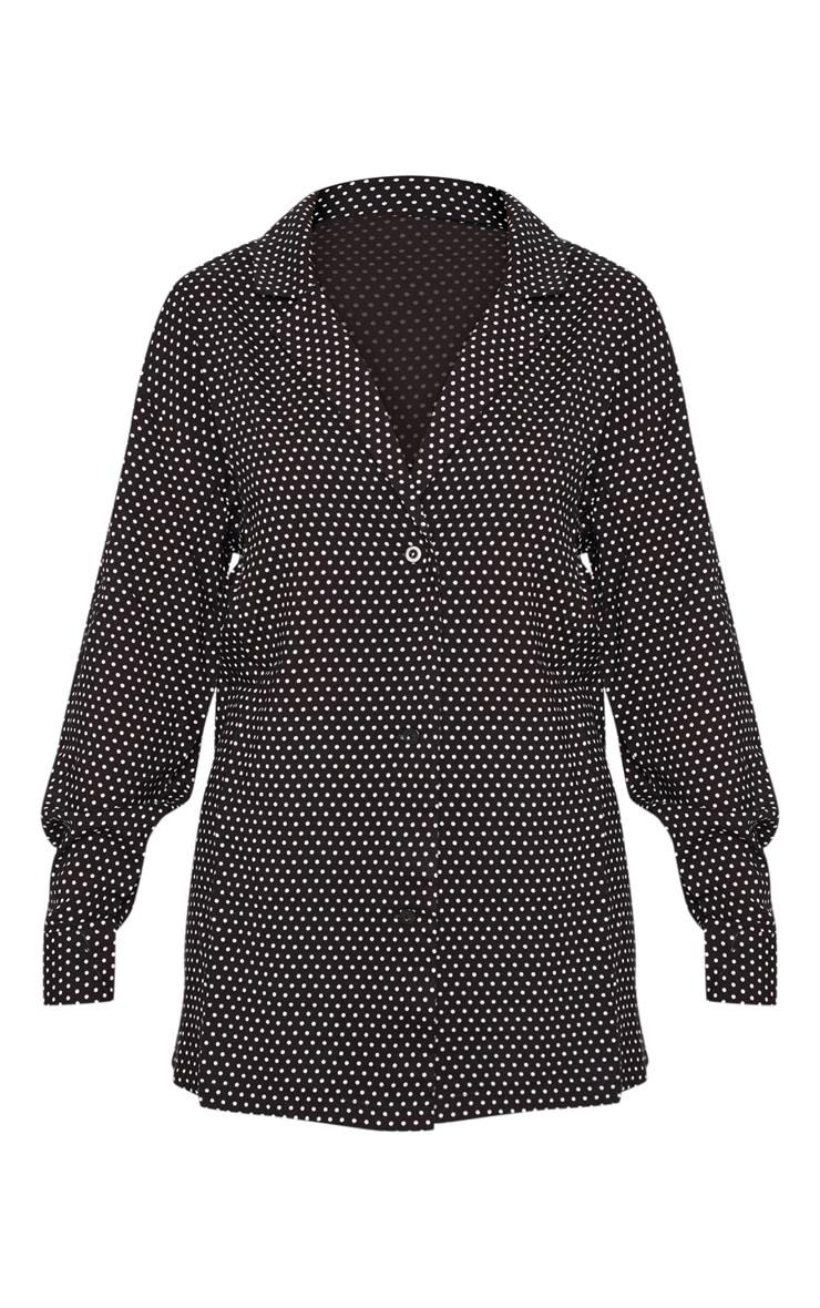 Chemise boutonnée noire à pois 3