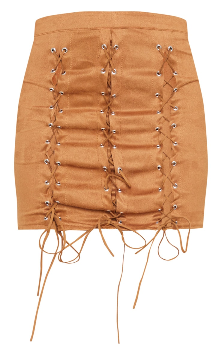 Tan Faux Suede Lace Up Detail Mini Skirt 6