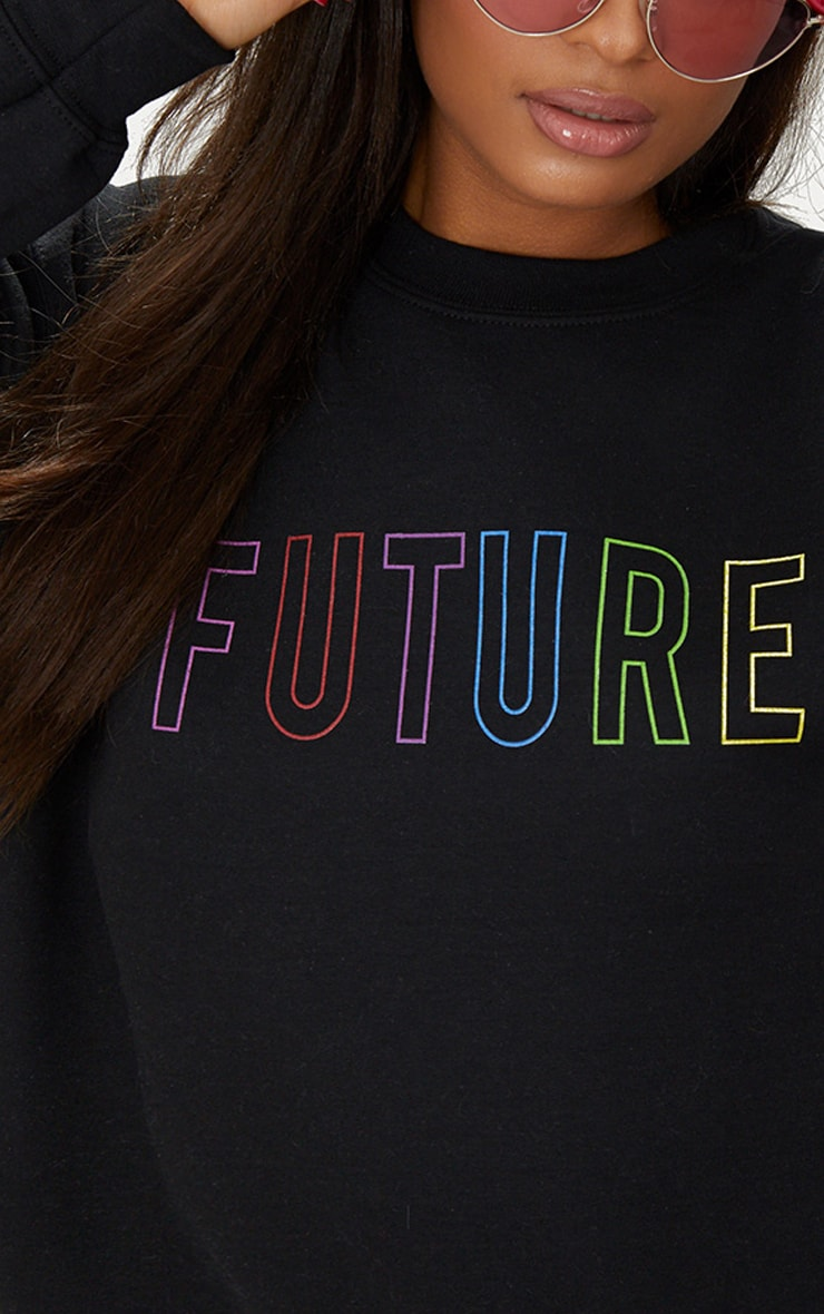 Black Future Slogan Sweater  5