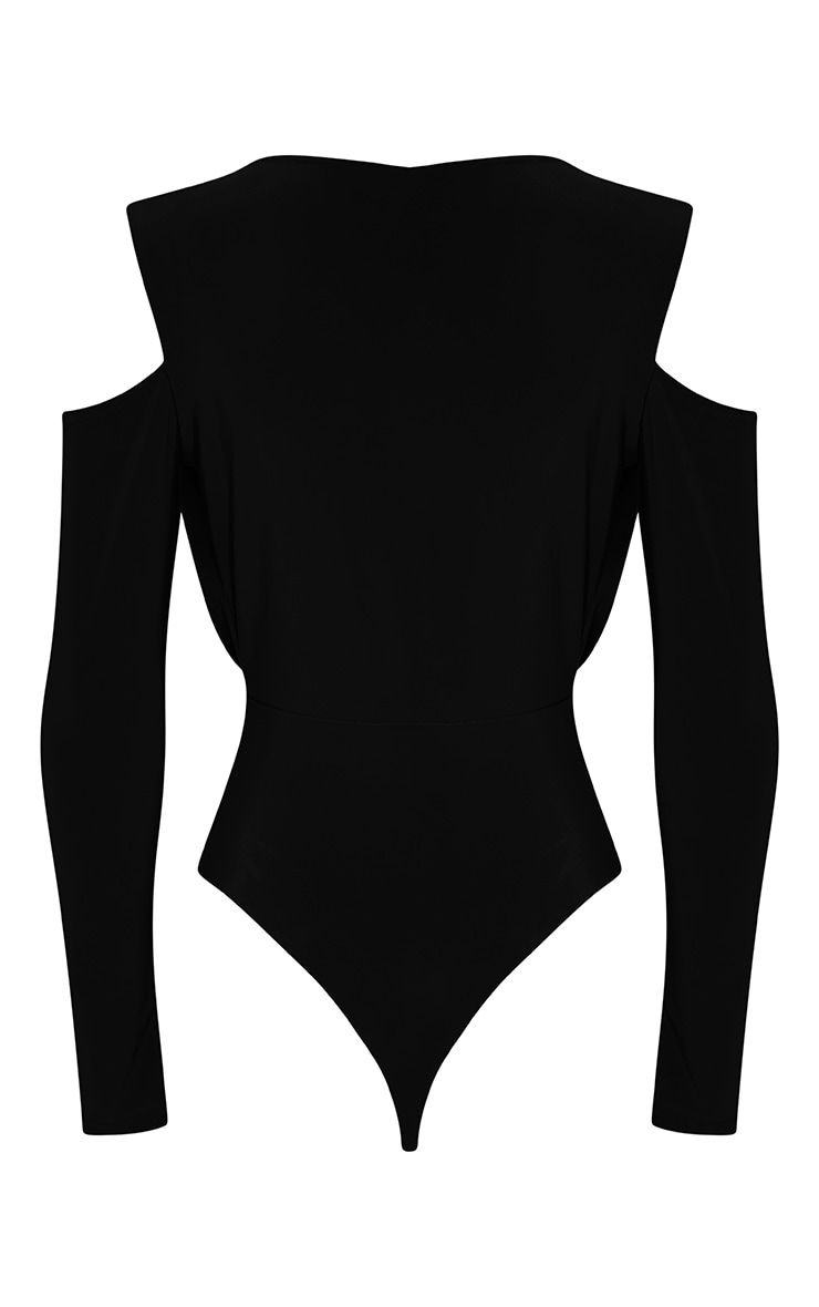 Sali Black Cold Shoulder Bodysuit 4