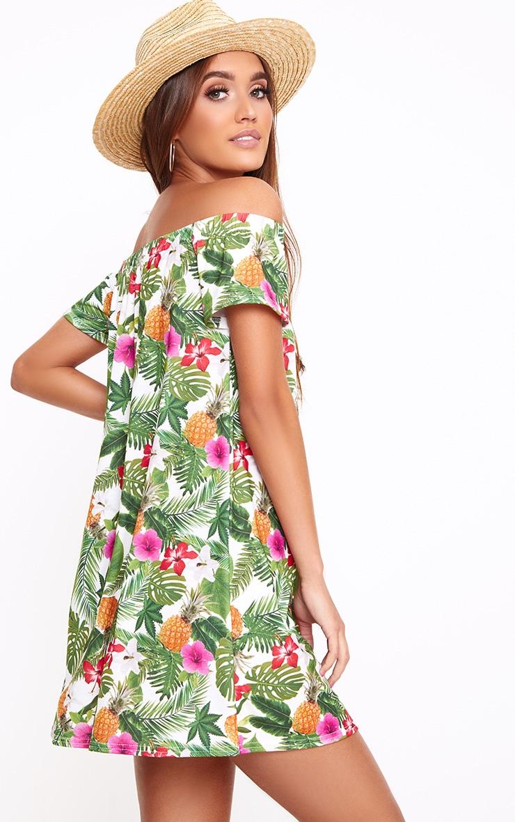 Green Leaf Print Shift Dress 2
