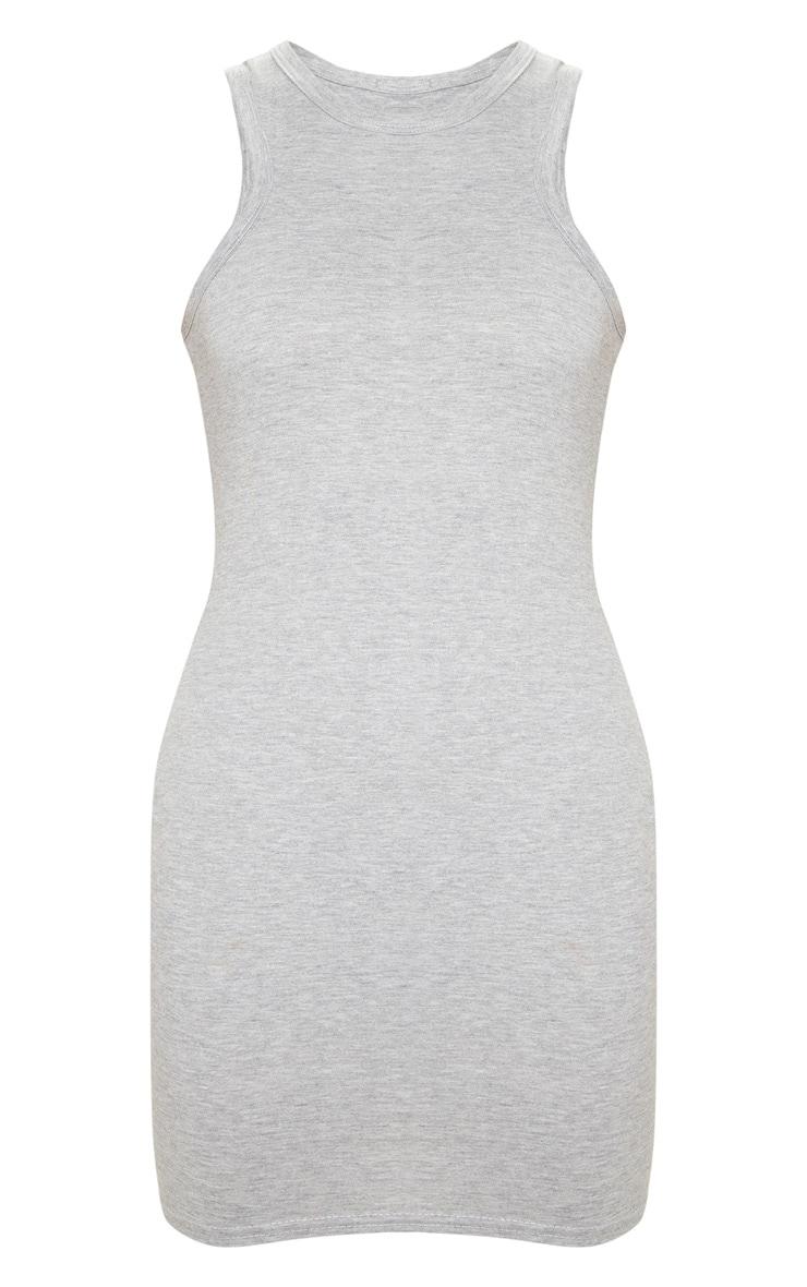 Tall Grey Racer Neck Basic Mini Dress  3