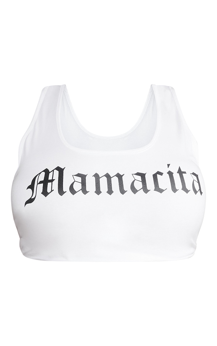 Plus White Printed Mamacita Crop Top 5