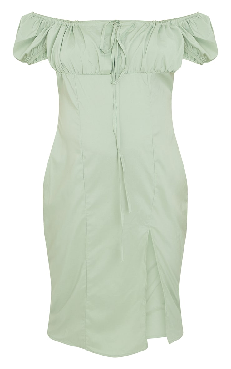 Maternity Sage Green Bardot Textured Midi Dress 5