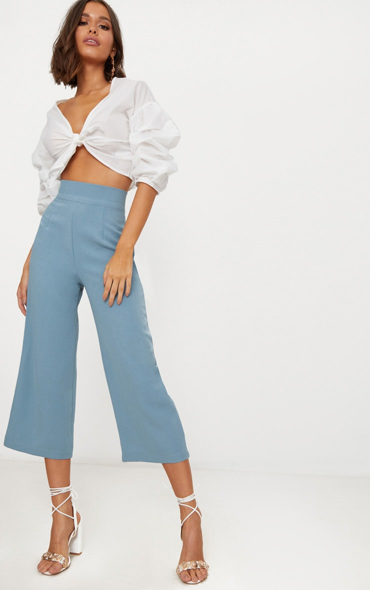 Dusty Blue High Waisted Culottes  1