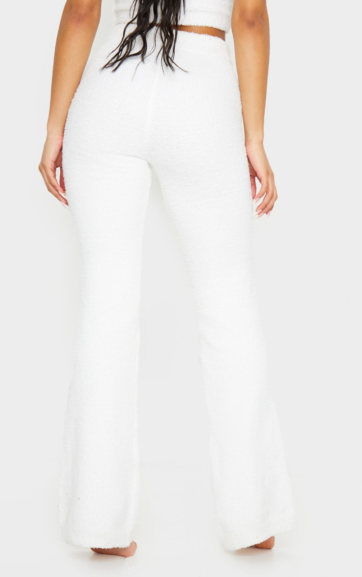 Cream High Waist Chenille Flared Trousers 3