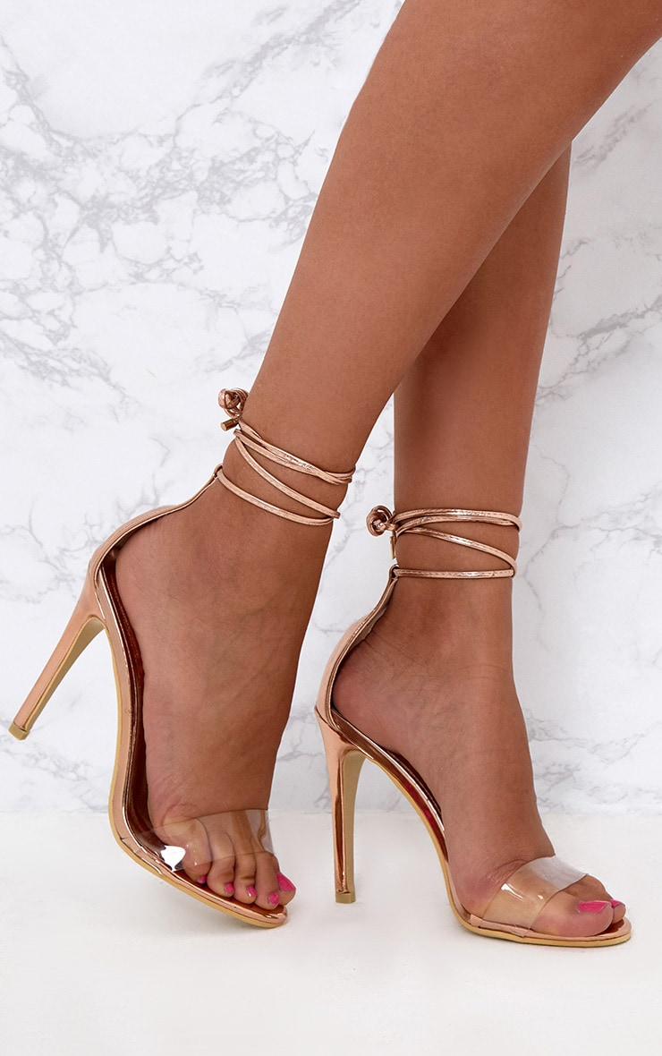 8f4c609a1bc8 Rose Gold Clear strap Ankle Tie Heels. Shoes