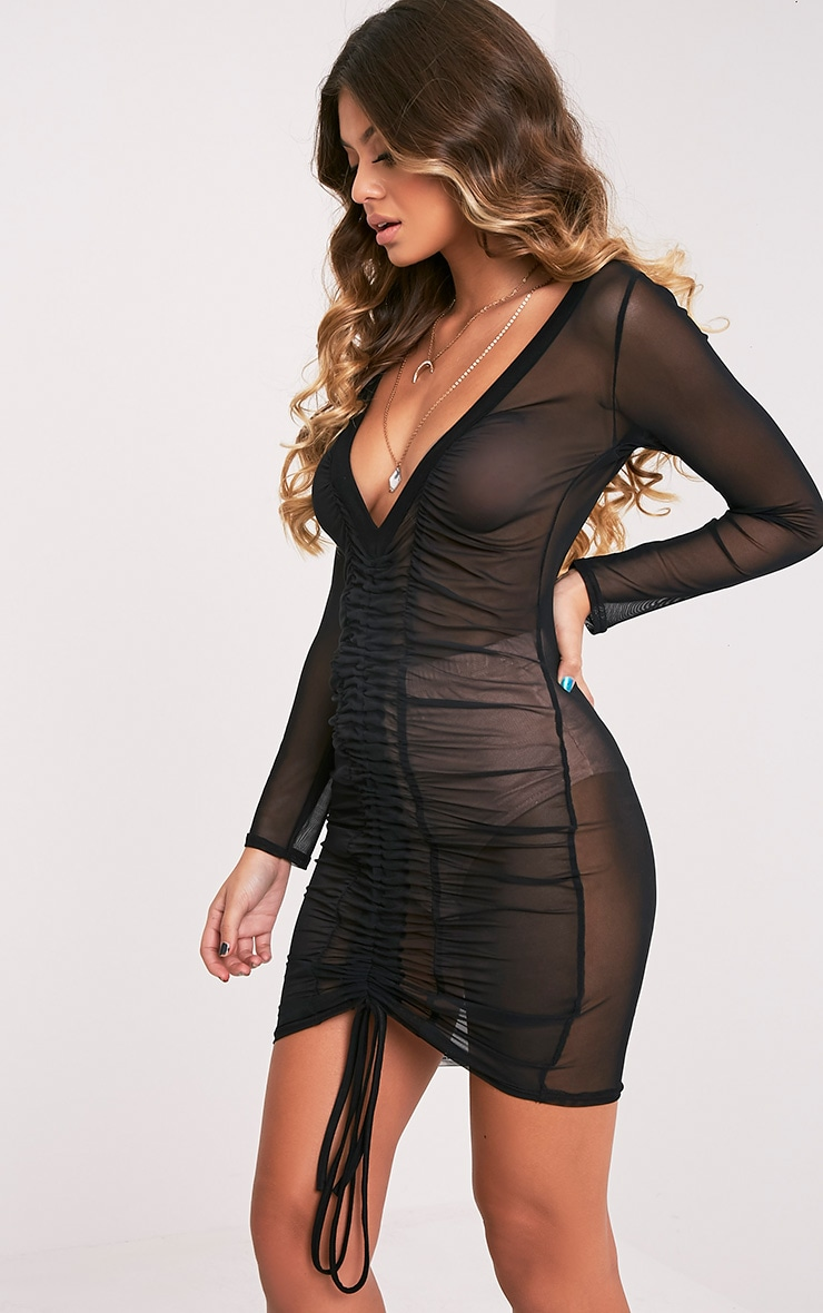 Lianna Mesh Ruched Black Bodycon Dress 4