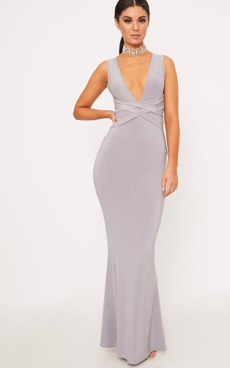 Maci Grey Double Wrap Slinky Maxi Dress 1