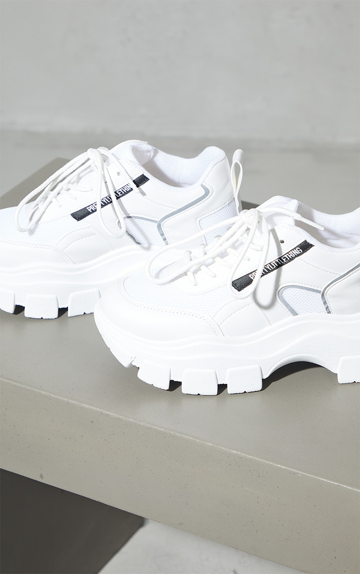 PRETTYLITTLETHING White PU Contrast Mesh Cleated Chunky Sole Sneakers 4