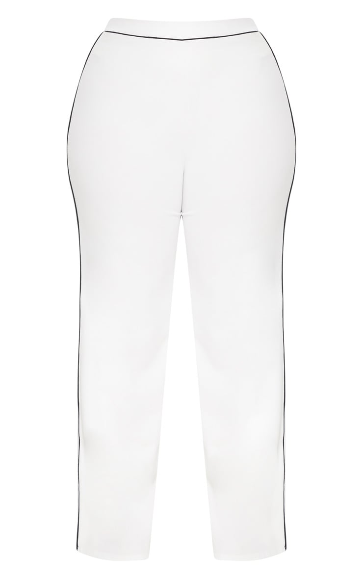 Plus White Contrast Seam Detail Wide Leg Trousers 3