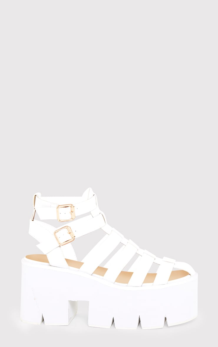 Jovana White Cleated Flatform Sandals 2