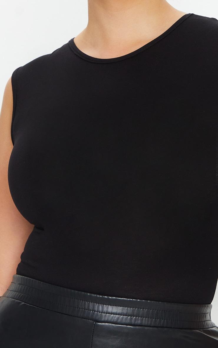 PLT Plus - Body-string noir basique à encolure ronde 4