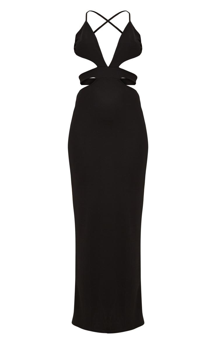 Black Strappy Cut Out Detail Maxi Dress 3