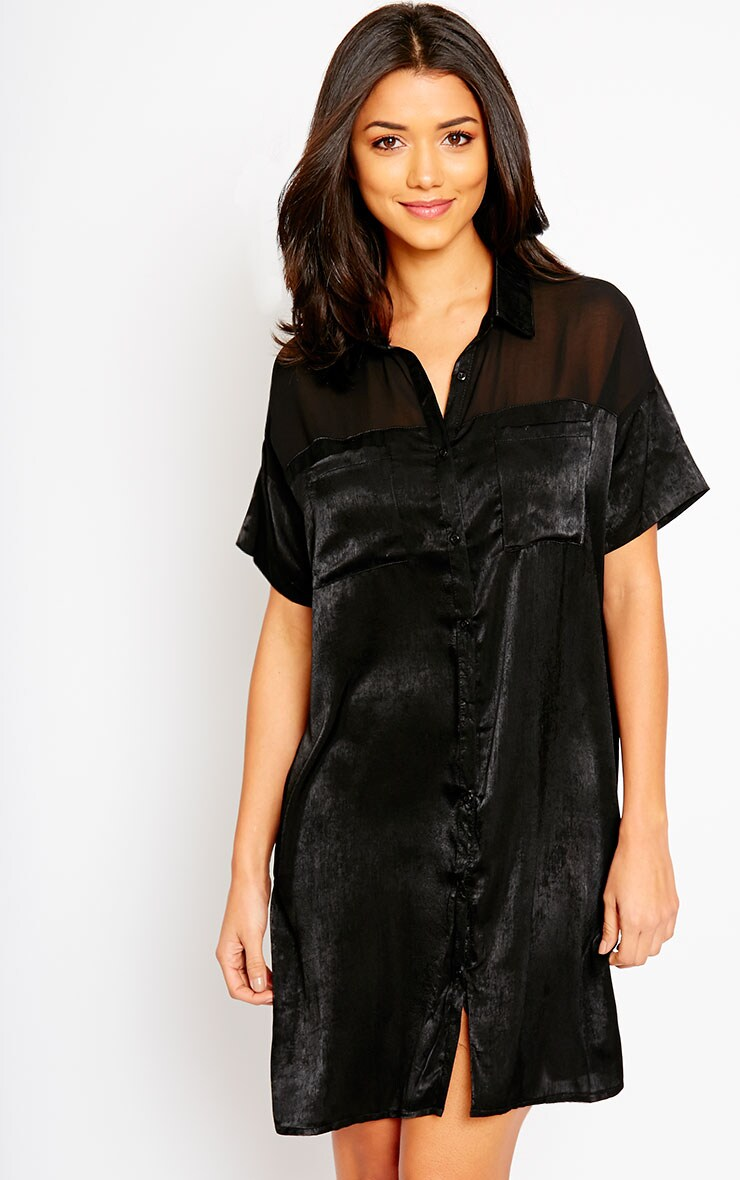 Dina Black Silky Panel Shirt Dress 1