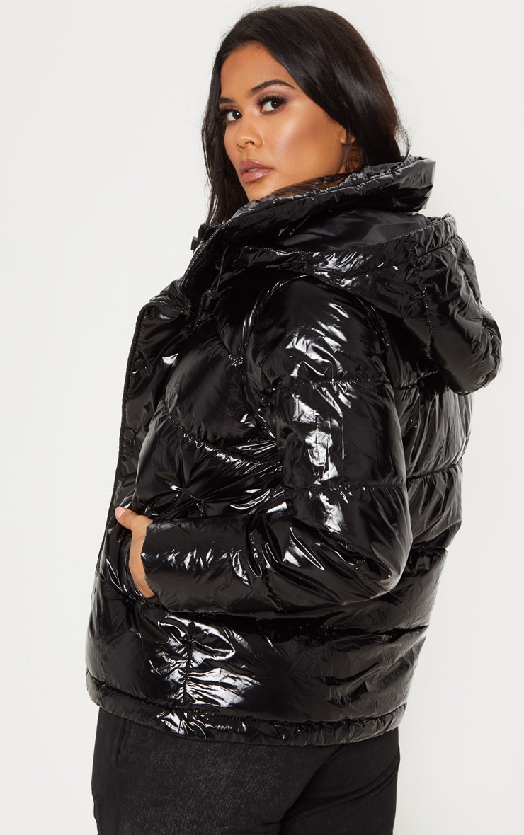 Black High Shine Oversized Hooded Puffer  2