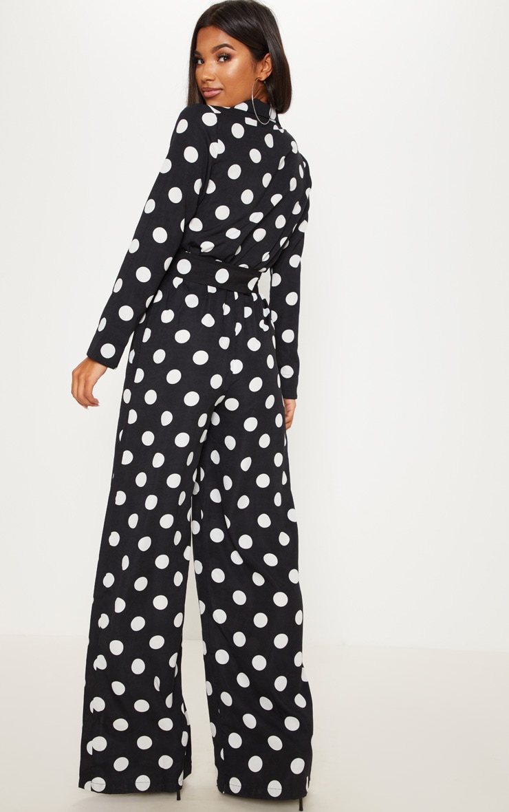 Monochrome Polka Dot Belt Detail Wide Leg Jumpsuit 2