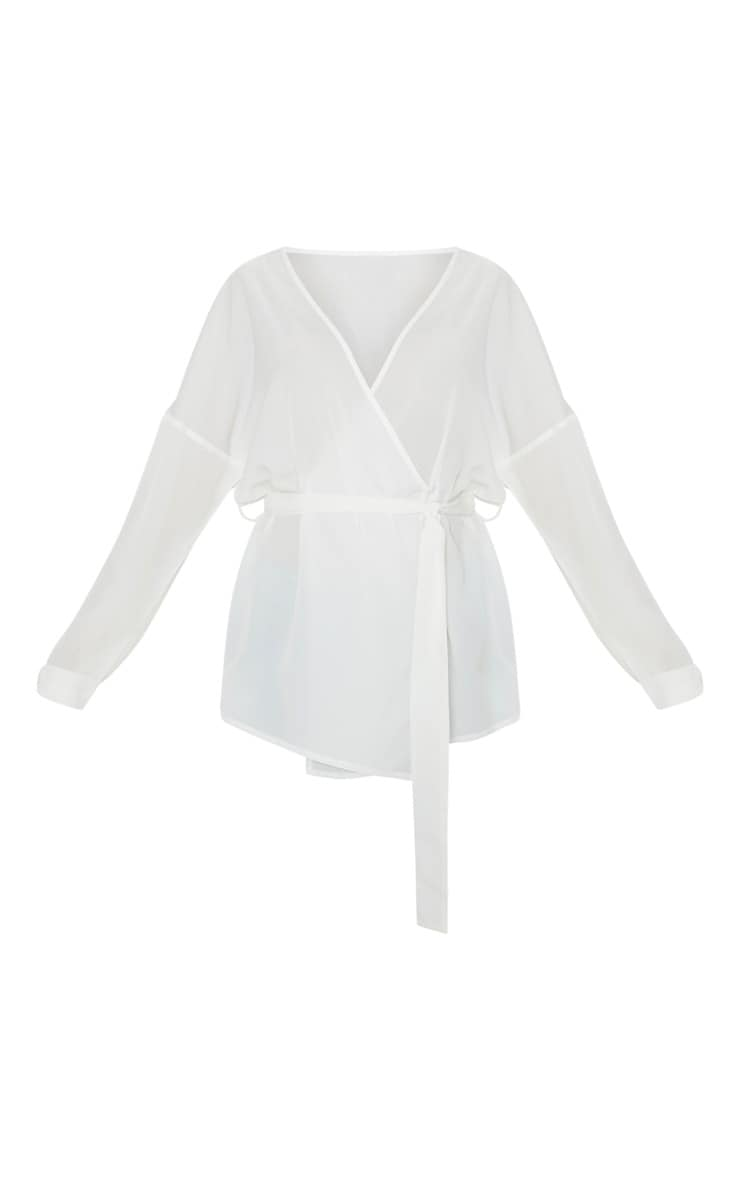 White Plunge Belt Detail Oversized Shirt 3