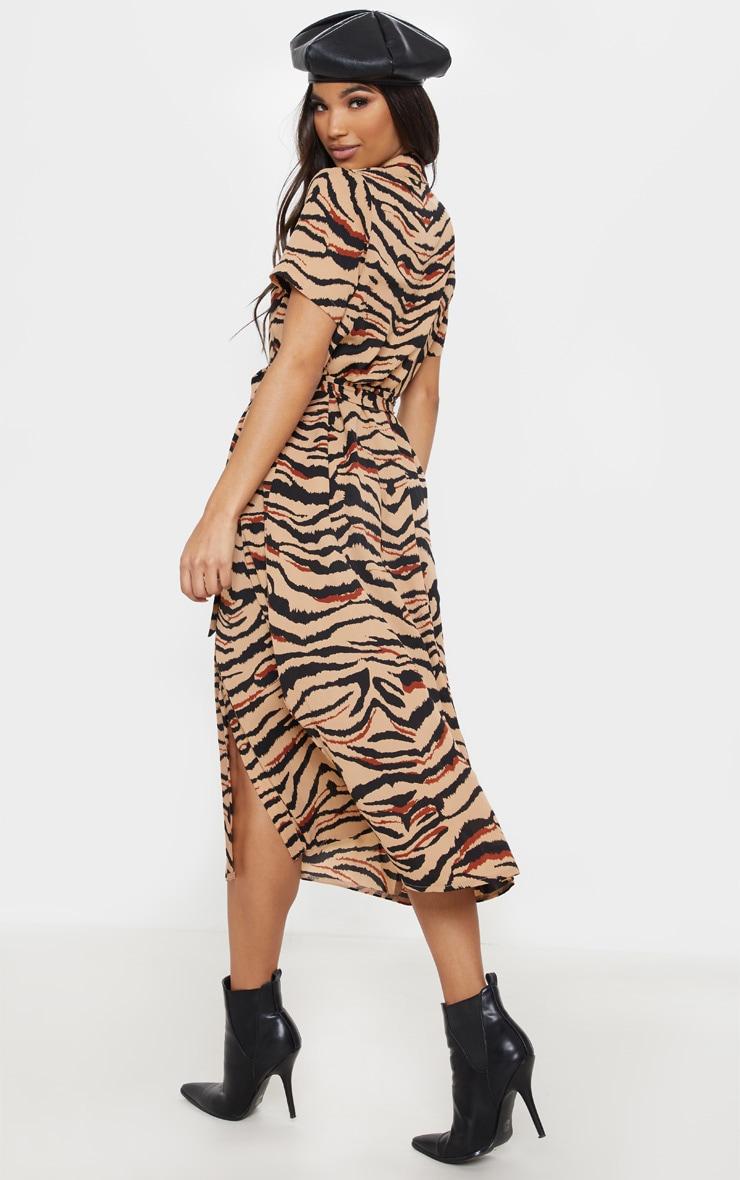 Camel Tiger Print Short Sleeve Midi Shirt Dress 2