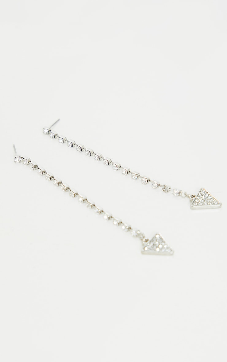 Silver Diamante Drop Triangle Earrings 2